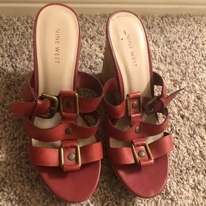 Nine West strappy wedge heels